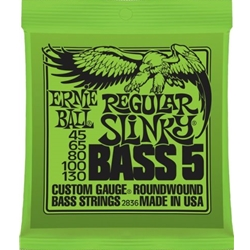 P02836 Ernie Ball 2836 Regular Slinky Bass Guitar Strings (5), .045 - .130