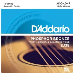 D'Addario EJ38 12 String Acoustic Guitar Strings, 10-47
