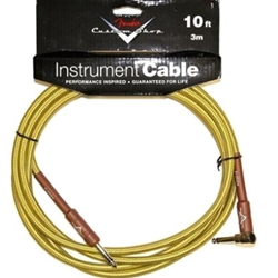 "990820031 Fender Custom Shop 18.6"" 1/4 Str X 1/4 Right Angle Instrument Cable, Tweed"